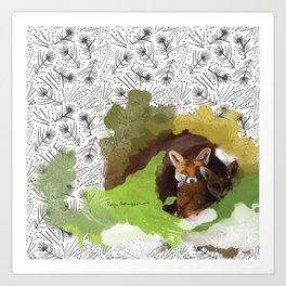 Littlest Foxes Art Print