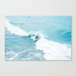 Wave Surfer Turquoise Canvas Print
