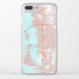 Vintage Map of Sarasota Florida (1973) Clear iPhone Case