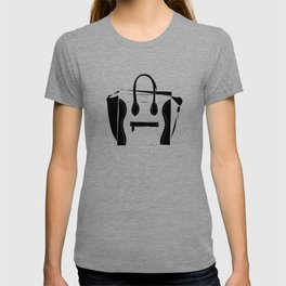Black and White Luggage Handbag Tote Pattern T-shirt