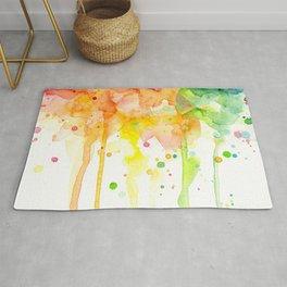 Rainbow Watercolor Pattern Texture Rug