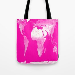 World Map Pink & White Tote Bag