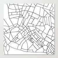 London Road Blocks White Canvas Print
