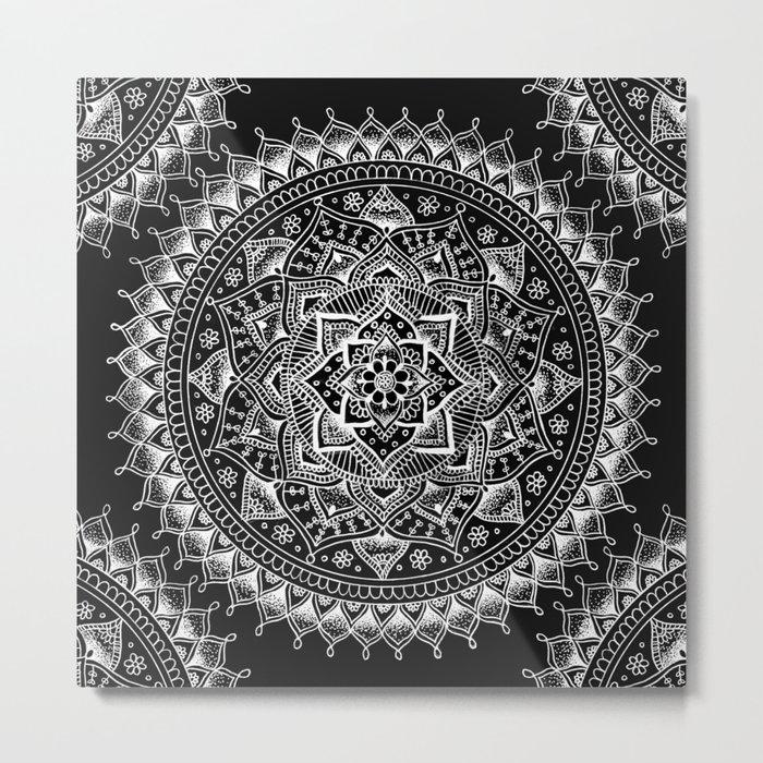 White Flower Mandala on Black Metal Print