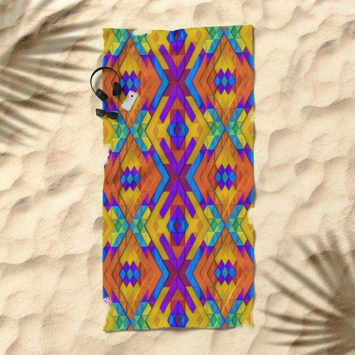 Colorful Geometry Beach Towel