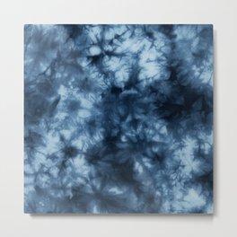 Dark Midnight Blue Boho Tie Dye Pattern Metal Print