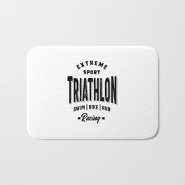 Funny Triathlon Graphic Art for Training and Racing Bath Mat