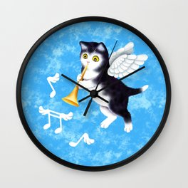Black and White Cherub Kitten Playing a Horn Wall Clock