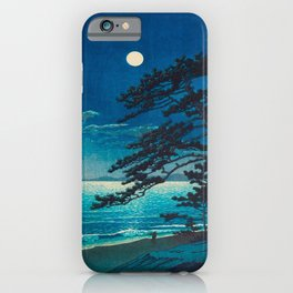 Vintage Japanese Woodblock Print Moonlight Over Ocean Japanese Landscape Tall Tree Silhouette iPhone Case