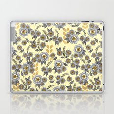 Golden floral with silver on beige Laptop & iPad Skin