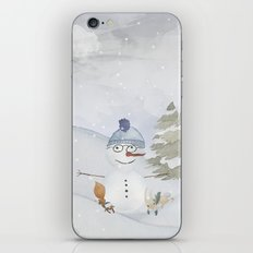 Winter Wonderland- Funny Snowman and friends - Watercolor illustration iPhone & iPod Skin
