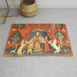 Lady and The Unicorn Medieval Tapestry Rug