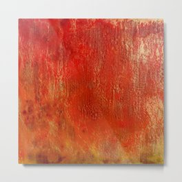 Fall Fire - Encaustic Painting (red, yellow, gold) Metal Print