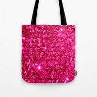 sparkle Tote Bags featuring SparklE Hot Pink by 2sweet4words Designs