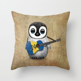 Baby Penguin Playing Barbados Flag Acoustic Guitar Throw Pillow