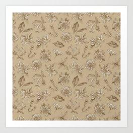 Savannah Blossoms on Tan Art Print