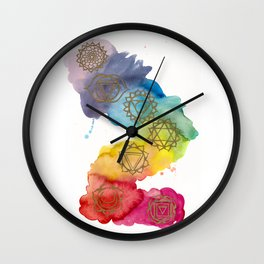 7 Chakras Watercolour Painting Wall Clock