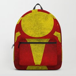 Flag of Macedonia in Grungy Backpack