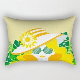 Sunshine Locks on Yellow - Kitschy Summer Glamour Girl Rectangular Pillow