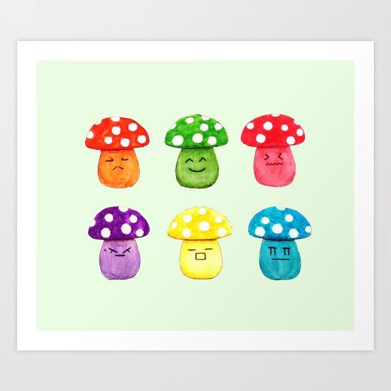cute mushroom emoji watercolor painting  Art Print