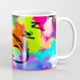 sleeping cartoon face with painting abstract background in red pink yellow blue orange Coffee Mug