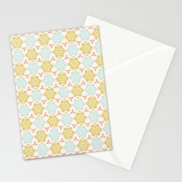 Trendy Yellow and Blue Pastel Ornamental Damask Stationery Cards