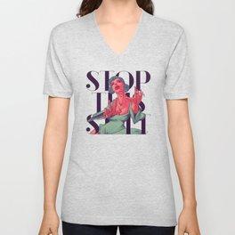 Stop! Canvas Print Unisex V-Neck