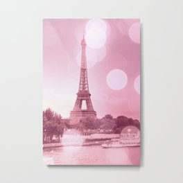 Paris Eiffel Tower Pink Bokeh Metal Print