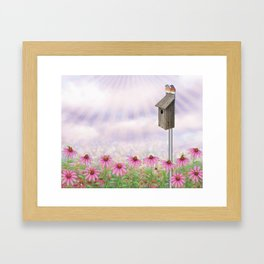 eastern bluebirds, echinacea, and bumble bees Framed Art Print
