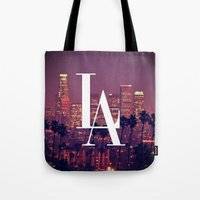 dodgers Tote Bags featuring Downtown LA Vintage Skyline Typography by RexLambo