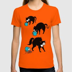 Coffee Cat Orange Womens Fitted Tee MEDIUM
