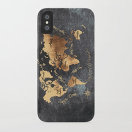 world map 147 gold black #worldmap #map iPhone Case