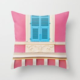 Window in Nice, France - Architecture, Travel Photography Throw Pillow