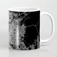las vegas Mugs featuring Las Vegas map by Line Line Lines