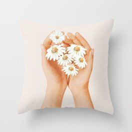 Hands Holding Flowers Throw Pillow