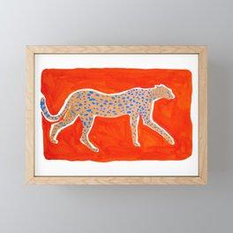 Leopard - Orange Framed Mini Art Print