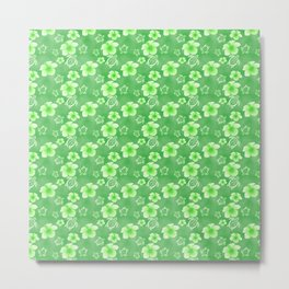 Green Hibiscus Honu Hawaiian Pattern Metal Print
