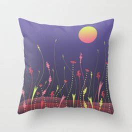 Nightscape with full moon Throw Pillow