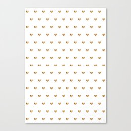 Small gold hearts pattern on white Canvas Print