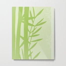 Green Bamboo Drawing Metal Print