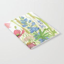 Watercolor Garden Flower Poppies Lupine Coneflower Wildflower Notebook