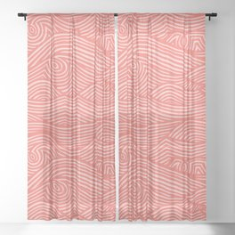 wavy lines in coral Sheer Curtain