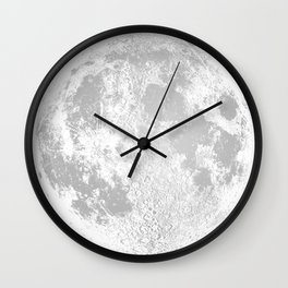 Large White Full Moon Print, by Christy Nyboer Wall Clock