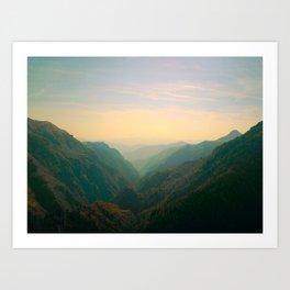 Mountain Valley Parallax Green Yellow Hues Sunset landscape Minimalist Modern Photo Art Print