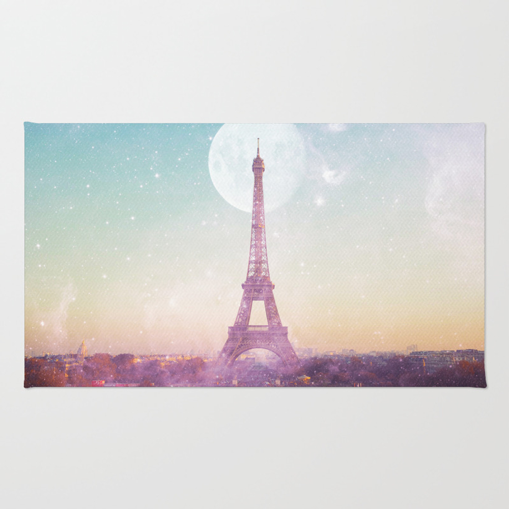 I Love Pink Paris Eiffel Tower - Full Moon Univers… Rug by Deificusart RUG6926601