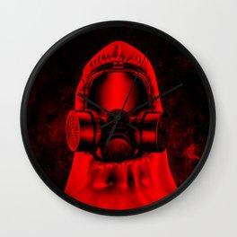 Toxic environment RED / Halftone hazmat dude Wall Clock