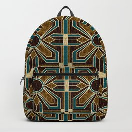 Art Deco Flowers in Brown and Teal Backpack