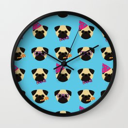 Party Pugs Wall Clock