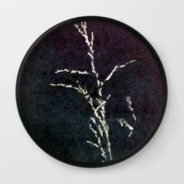 grass seedhead cyanotype Wall Clock