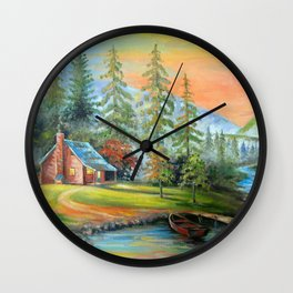 House at the mountain river Wall Clock